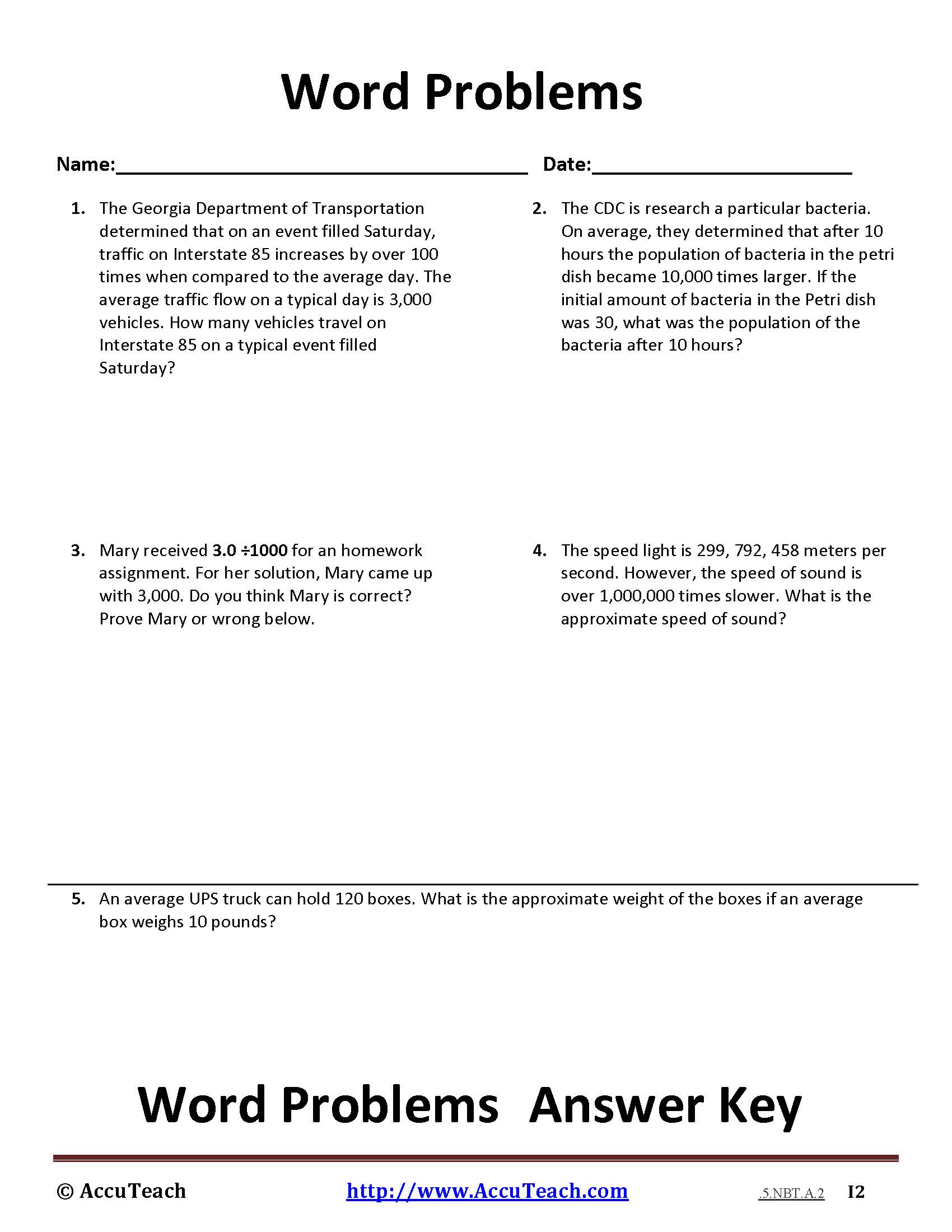 5.NBT.A.2 Common Core Story Problems Activity Sheet #7- AccuTeach
