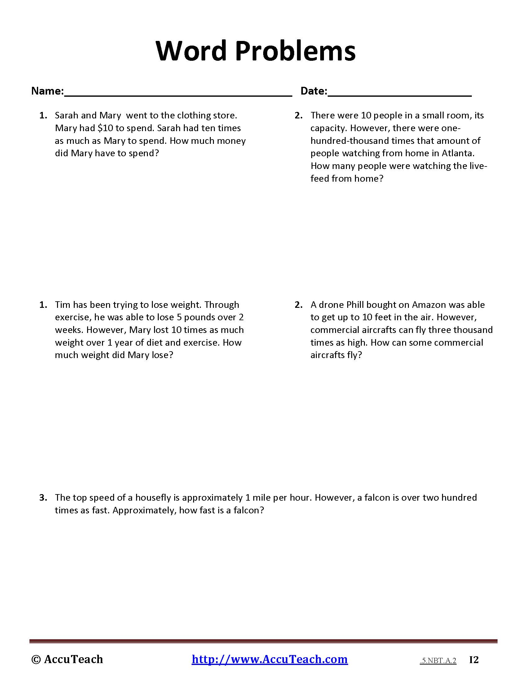 5.NBT.A.2 Common Core Story Problems Activity Sheet #8