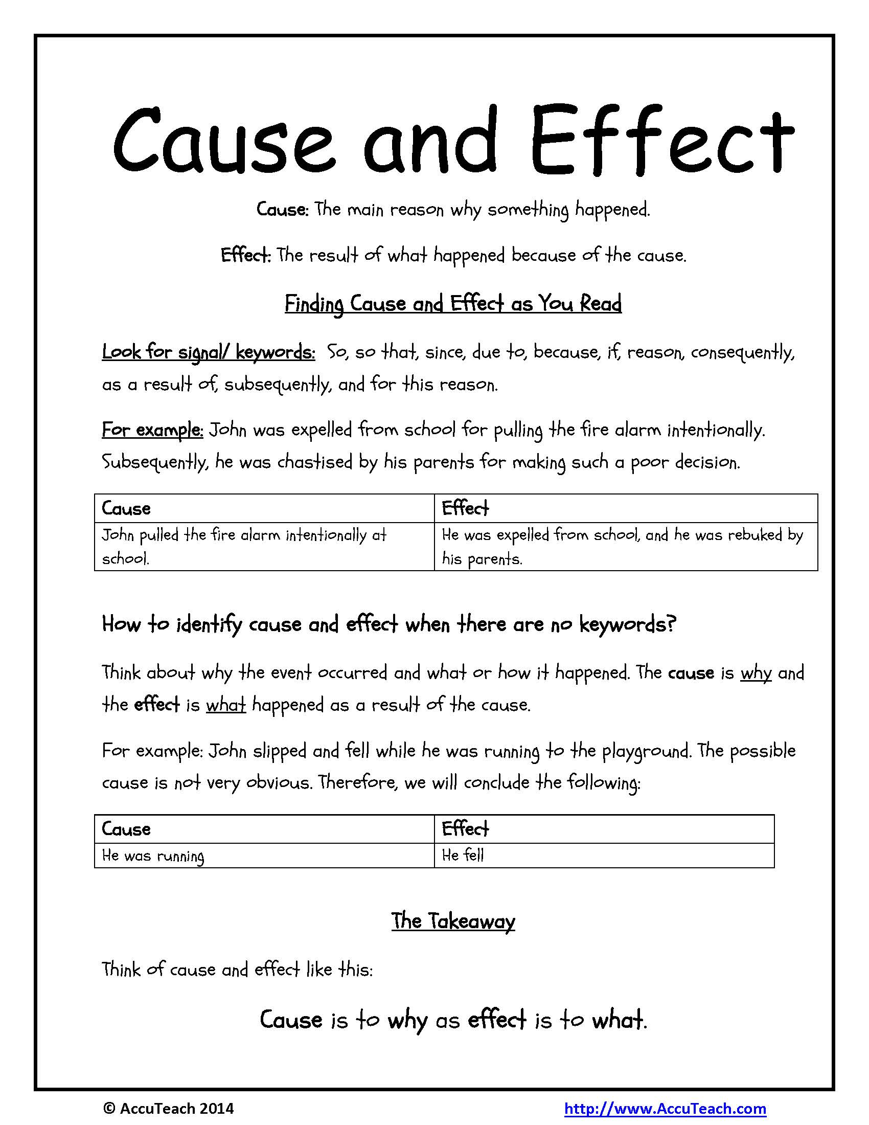 cause and effect relationship examples sentences using conjunctions