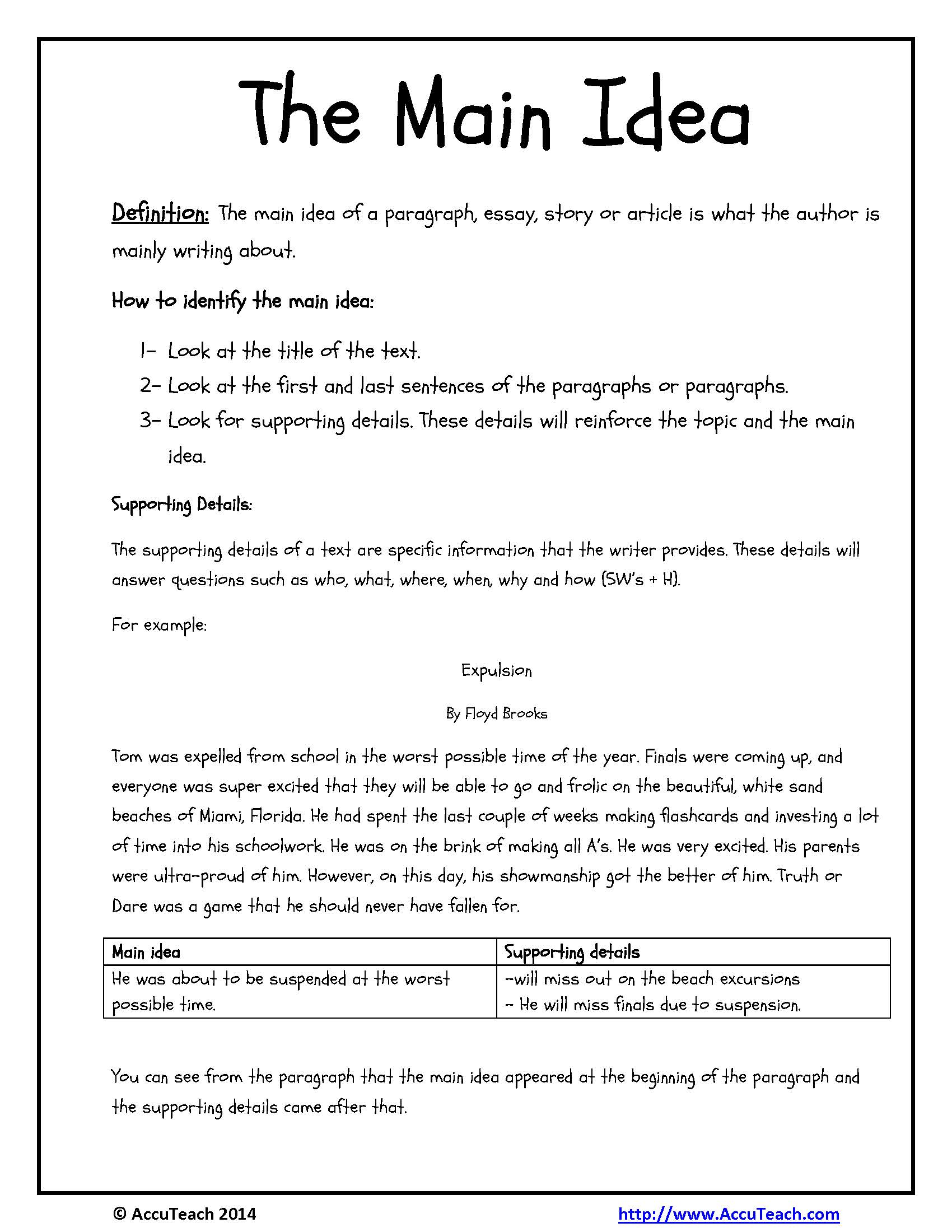 worksheet Free Main Idea Worksheets main idea and supporting details worksheets 3rd grade free on for grade