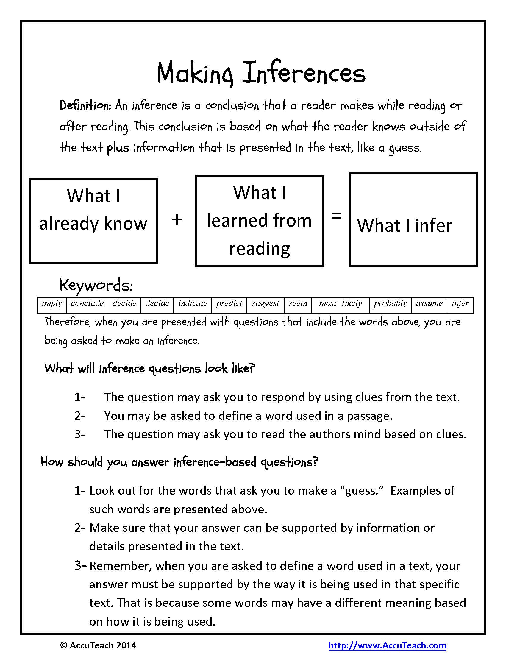 Worksheets Reading Comprehension Strategies Worksheets making inferences reading comprehension strategy inferences