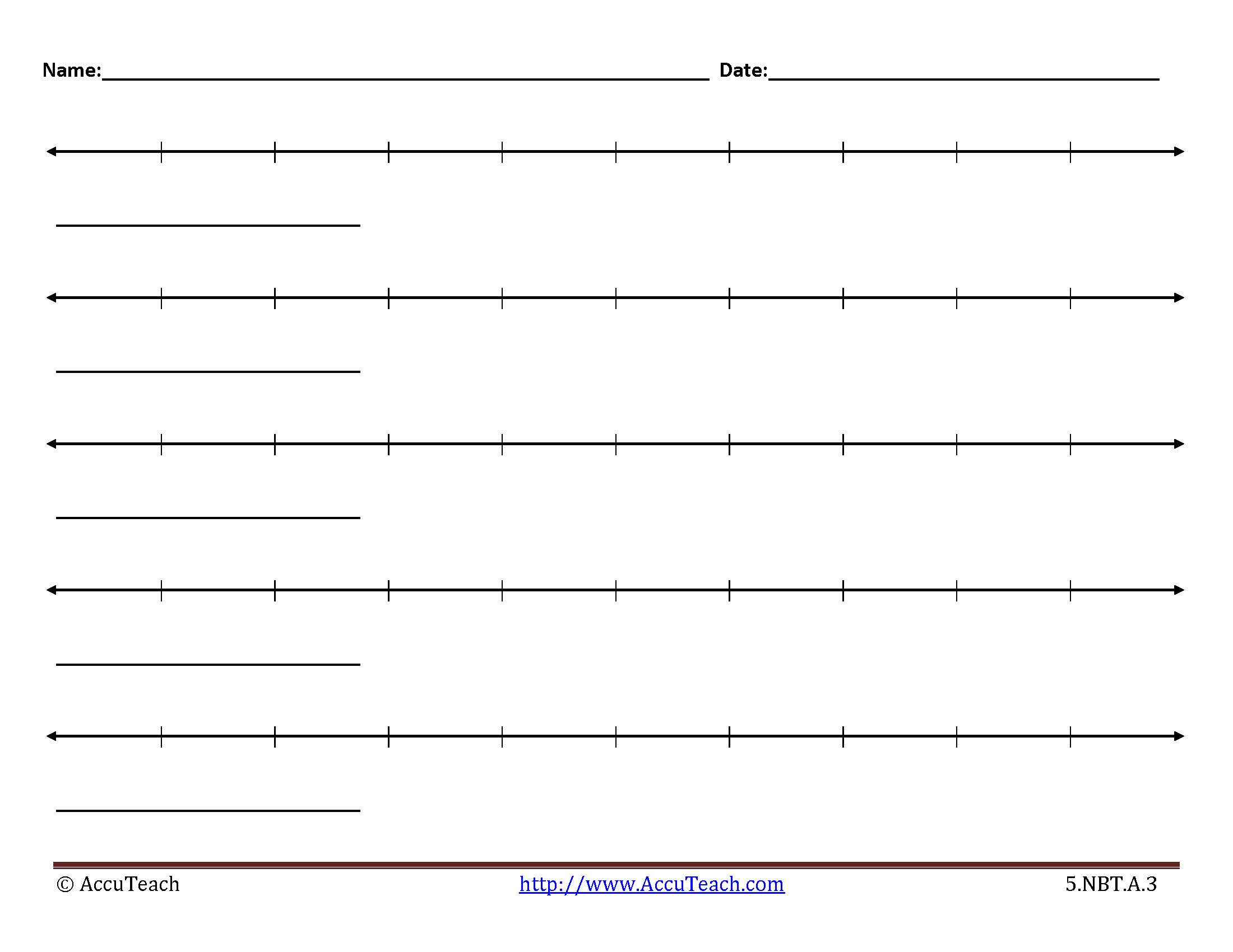 photo regarding Printable Blank Number Lines titled 5.NBT.A.3 Lesson Recreation Printable Blank Variety Traces#11