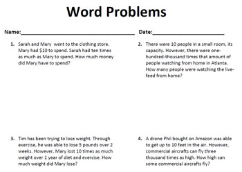 5.NBT.A.2 Common Core Story Problems Activity Sheet #8- AccuTeach