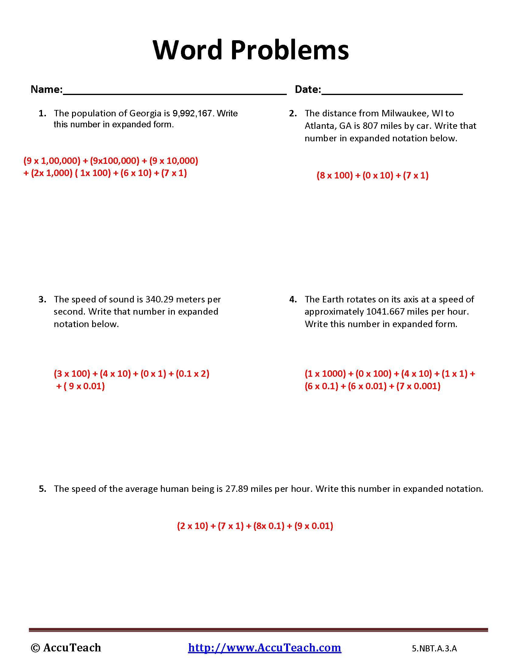 5nbta3a expanded form worksheet activity 16 writing numbers in expanded form 5nbta falaconquin