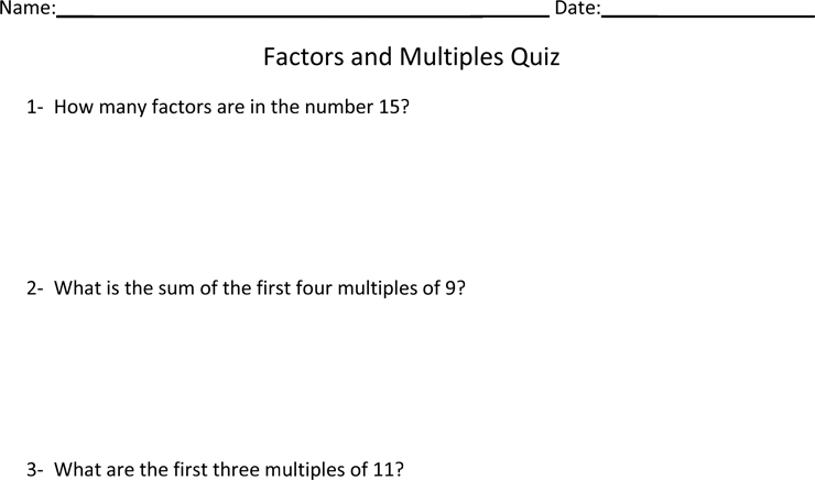Least Common Multiples and Factor Worksheet – Worksheet on Factors and Multiples
