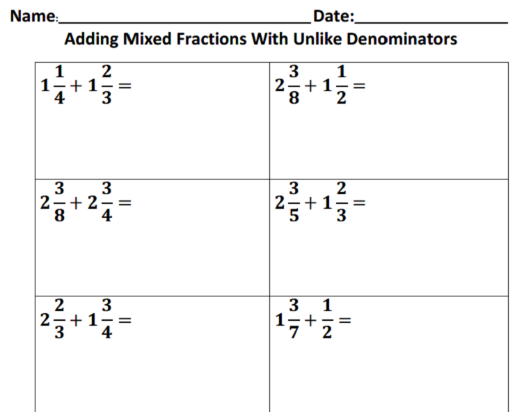 Adding And Subtracting Fractions With Unlike Denominators Adding Fractions With ...