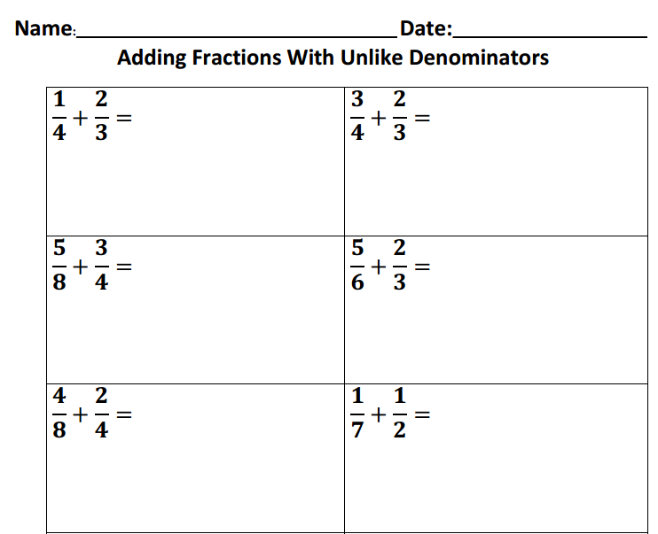 Worksheets Adding Fractions With Unlike Denominators Worksheets printables adding and subtracting fractions with unlike denominators worksheets of