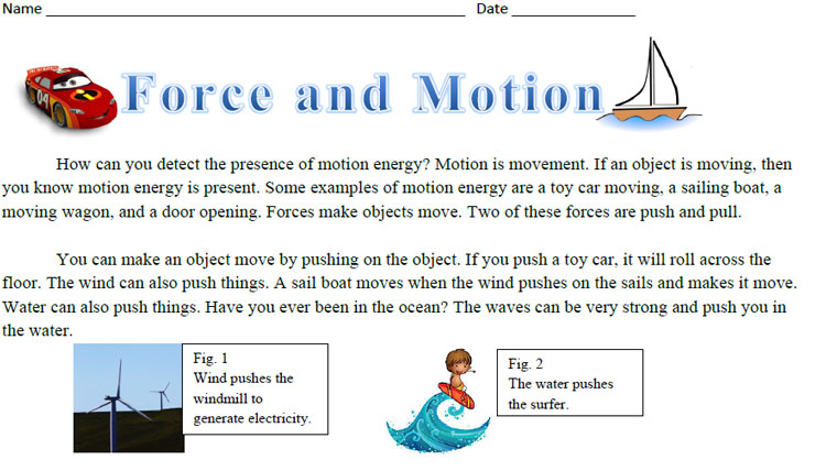 Force and Motion Science Reading Comprehension – Forces and Motion Worksheet