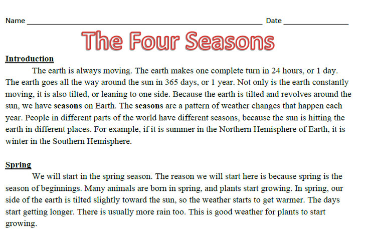 The Four Seasons Reading Comprehension